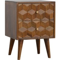 Tufa Wooden Cube Carved Bedside Cabinet In Chestnut 2 Drawers