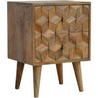 Tufa Wooden Cube Carved Bedside Cabinet In Oak Ish 2 Drawers