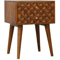 Tufa Wooden Diamond Carved Bedside Cabinet In Chestnut 2 Drawers