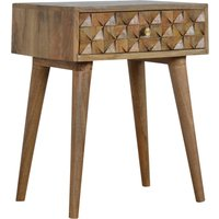 Tufa Wooden Diamond Carved Bedside Cabinet In Oak Ish 1 Drawer