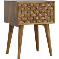 Tufa Wooden Diamond Carved Bedside Cabinet In Oak Ish 2 Drawers