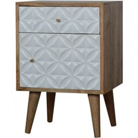 Tufa Wooden Diamond Carved Bedside Cabinet In Oak Ish And White