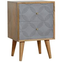 Product photograph showing Tufa Wooden Geometric Carved Bedside Cabinet In Oak Ish And Grey