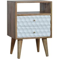 Product photograph showing Tufa Wooden Honeycomb Carved Bedside Cabinet In Oak And White