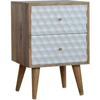 Product photograph showing Tufa Wooden Honeycomb Carved Bedside Cabinet In Oak White