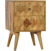 Product photograph showing Tufa Wooden Pineapple Carved Bedside Cabinet In Oak Ish 2 Drawers