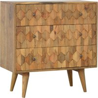 Product photograph showing Tufa Wooden Pineapple Carved Chest Of 3 Drawers In Oak Ish