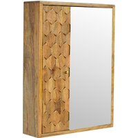Product photograph showing Tufa Wooden Pineapple Carved Wall Mirrored Cabinet In Oak Ish