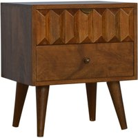 Product photograph showing Tufa Wooden Prism Carved Bedside Cabinet In Chestnut 2 Drawers