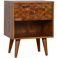 Product photograph showing Tufa Wooden Tile Carved Bedside Cabinet In Chestnut