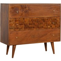 Product photograph showing Tufa Wooden Tile Carved Chest Of 3 Drawers In Chestnut