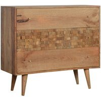 Product photograph showing Tufa Wooden Tile Carved Chest Of 3 Drawers In Oak Ish