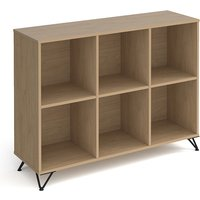 Tufnell Low Wooden Shelving Unit In Kendal Oak With 6 Shelves