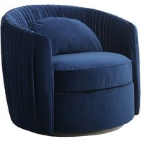 Product photograph showing Tulsa Fabric Arm Chair In Blue Brushed Velvet