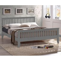 Product photograph showing Turin Wooden King Size Bed In Grey