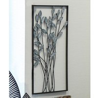 Product photograph showing Twigs Metal Wall Art In Silver With Antique Dark Brown Frame