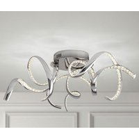 Product photograph showing Twirls Led Ceiling Light In Chrome With Clear Crystal Decoration