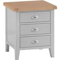 Tyler Extra Large Wooden 3 Drawers Bedside Cabinet In Grey