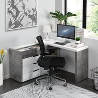 Product photograph showing Uma Corner Storage Computer Desk In Concrete Effect And White