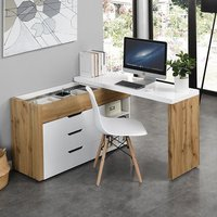 Product photograph showing Uma Corner Storage Computer Desk In Oak And White High Gloss