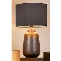 Product photograph showing Unique Navy And Gold Ceramic Table Lamp With Dark Grey Shade
