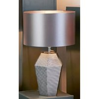 Product photograph showing Unique Smoked Glass Table Lamp With Grey Drum Shade