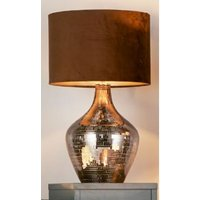 Product photograph showing Unique Smoked Mosaic Table Lamp With Brown Suede Shade