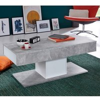 Product photograph showing Universal Storage Coffee Table In White And Stone Cement Grey