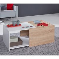 Product photograph showing Universal Storage Coffee Table In White And Sagerau Light Oak