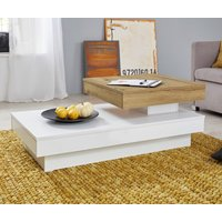 Product photograph showing Universal Rolling Coffee Table In Artisan Oak And White