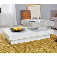 Product photograph showing Universal Rolling Coffee Table In Cement Grey And White