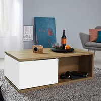 Product photograph showing Universal 1 Drawer Coffee Table In Artisan Oak And White