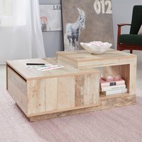 Product photograph showing Universal Wooden Coffee Table In Pale Wood With Drawer