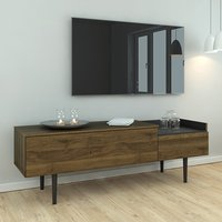 Product photograph showing Unka Wooden 2 Drawers Sideboard In Walnut And Black