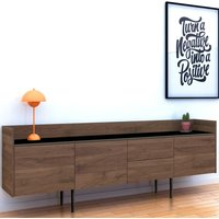 Product photograph showing Unka Wooden 3 Doors 2 Drawers Sideboard In Walnut And Black