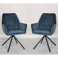 Uno Blue Velvet Fabric Dining Chairs In A Pair