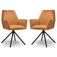 Uno Burnt Orange Velvet Fabric Dining Chairs In A Pair