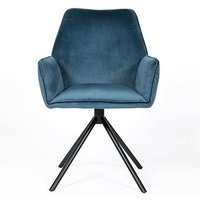 Uno Velvet Fabric Dining Chair In Blue