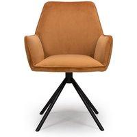 Uno Velvet Fabric Dining Chair In Burnt Orange