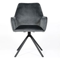 Uno Velvet Fabric Dining Chair In Grey