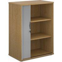 Upton Wooden 1 Door Tambour Storage Cabinet In Oak With 2 Shelves