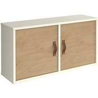 Upton Wooden Box Storage Unit In White With 2 Kendal Oak Doors