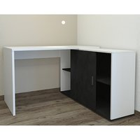 Product photograph showing Vacaville Corner Storage Computer Desk In White And Matera