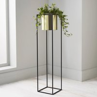 Product photograph showing Vail Large Metal Plant Holder In Black And Gold