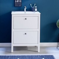 Product photograph showing Valdo Modern Vanity Cabinet With Basin In White