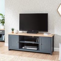 Product photograph showing Valencia Large Wooden Tv Stand In Slate Blue And Oak