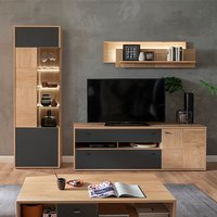 Product photograph showing Valencia Led Living Room Furniture Set 1 In Oak And Anthracite