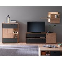Product photograph showing Valencia Led Living Room Furniture Set 2 In Oak And Anthracite