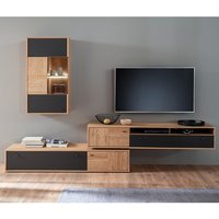 Product photograph showing Valencia Led Living Room Furniture Set 3 In Oak And Anthracite