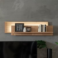 Product photograph showing Valencia Led Wide Wooden Wall Shelf In Bianco Oak